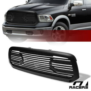 For 2013 2018 Dodge Ram 1500 Matte Black Big Horn Front Hood Bumper Grill Grille