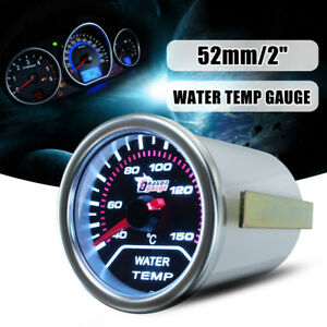 52mm 2 Led Car Universal Digital Water Temp Gauge Temperature Meter Smoke Len
