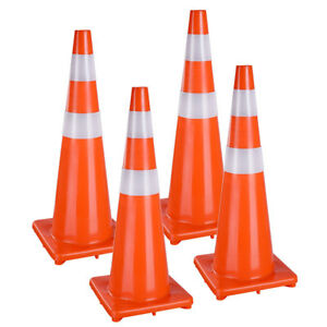 36 Traffic Safety Cones Reflective Collars Overlap Parking Construction 4 Pcs