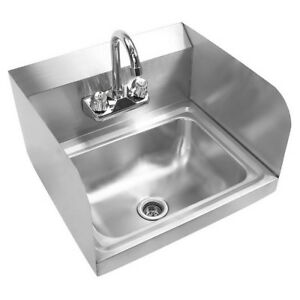 17 X 15 X 14 Kitchen Stainless Steel Wall Mount Hand Sink W Faucet Silver