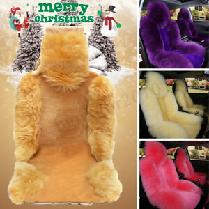 2x Genuine Universal Sheepskin Fur Winter Cushion Car 5 Seat Front Seat Cover