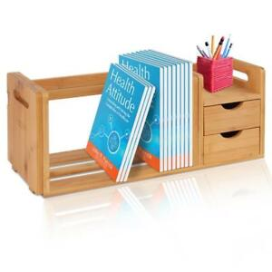 Natural Bamboo Bookshelf Desktop Shelf Organizer Unit With Drawers