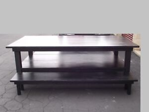 8 x4 Black Wood Work Dining Retail Display Table With Shelf 2 Benches