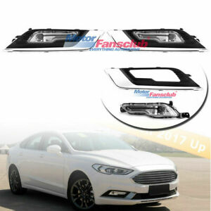 Front Bumper Fog Light Grille Grill Cover W Bulbs Kit For Ford Fusion 2017 2018