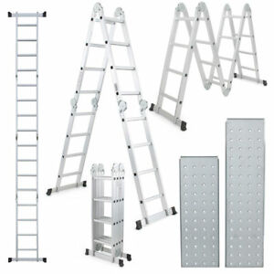 Practical 15 5ft Step Platform Purpose Aluminum Folding Scaffold Ladder Silver