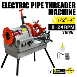 Electric Pipe Threading Machine 1 2 4 Npt Deburrer 750w Oil Can On Sale