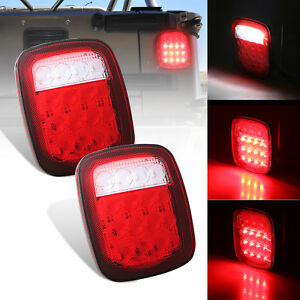 2x Truck Trailer Stud Mount Stop Turn Tail Back Up Light 16 Led Red White Sealed