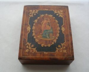 Sublime Italian Wood Box Intricate Inlay Work Handpainted Museum Quality W Wear