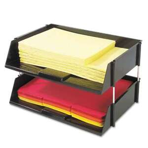 Deflecto Industrial Stacking Tray Set Two Tier Plastic Black 079916820071