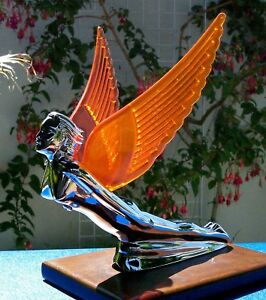 Amber Winged Chrome Metal Flying Lady Hood Ornament With Free Light New