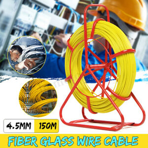 4 5mm 150m Fish Tape Fiberglass Wire Cable Running Rod Duct Rodder Puller Us