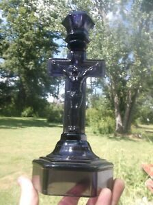 Very Nice Purple Glass Catholic Crucifix Candlestick Original 1890 S Era Clean