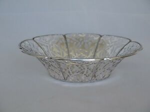 Vintage 800 Silver Pierced Large Fruit Bowl