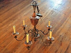 Vintage Mid Century Brass Wood 6 Light Chandelier Hanging Ceiling Fixture