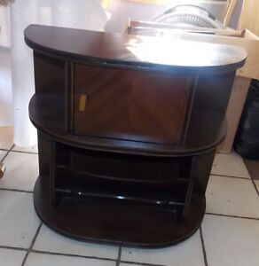 Mid Century Walnut Inlaid Top Copper Lined Smoke Stand With Magazine Rack