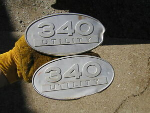 International 340 Utility Tractor Front Chrome Oval Pair Hood Side Panel Emblems