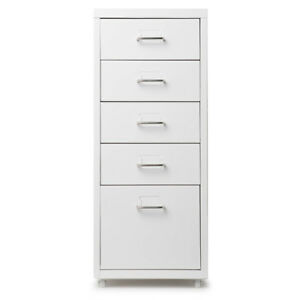 White 5 drawer Metal Detachable Mobile Filing Cabinet Home Office 4 Casters L6t8
