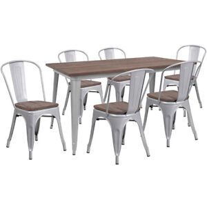 30 25 X 60 Silver Metal Table Set With Wood Top And 6 Stack Chairs