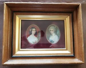 Antique Victorian Eastlake Deep Wood Shadowbox Picture Frame Gold Liner