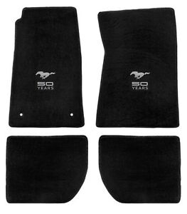 1964 5 73 Ford Mustang Coupe Heavy Plush Lloyd Floor Mats 4pc Black 50th Annv