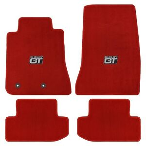 2015 2019 Ford Mustang Shelby Heavy Plush Lloyd Floor Mats Red Shelby Gt Logo