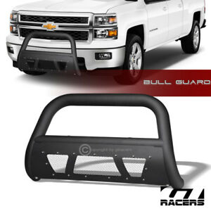 For 2007 2018 Silverado suburban Ld tahoe Matte Blk Studded Mesh Bull Bar Guard
