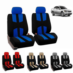 Universal Full Set Car Seat Covers For Truck Van Suv 2 Heads Beige Blue Red Gray