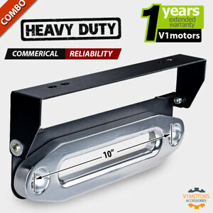 10 Silver Cnc Winch Hawse Fairlead aluminum Flip up License Plate Holder Mount