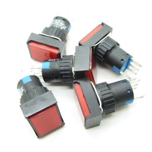 25 Red 16mm Push Button Switch Latching Rectangle With Ac 220v Led Light