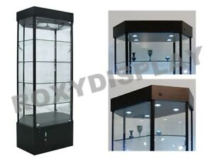 Tower Led Black Display Showcase Store Fixture Assembled W lights sc wl35bk