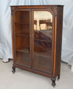 Antique Oak Two Door Bookcase Original Finish Carved Lions