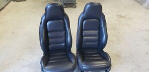 2006 2010 Corvette C6 Black Ebony Leather Sport Seats Heated Nice Used