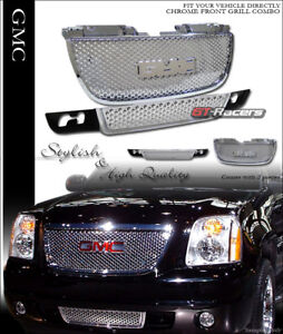 For 2007 2014 Gmc Yukon Chrome Round Hole Upper Lower Front Hood Grill Grille