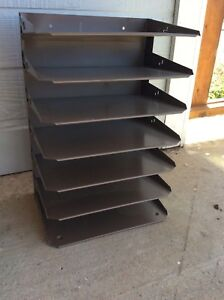 Huntlit ning Metal Desk In Out Box Tier File Holder Tray Vtg Office Industrial
