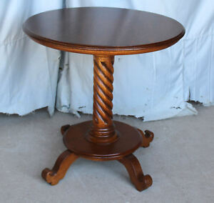 Antique Round Oak Pedestal Parlor Table