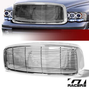 For 2002 2005 Ram Chrome Horizontal Billet Front Hood Bumper Grill Grille Guard