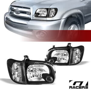 For 2005 2006 Tundra Double sequoia Black Housing Headlights W corner Signal Nb