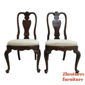 Pair Ethan Allen Georgian Court Queen Anne Dining Room Side Chairs 225 A