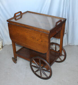 Antique Oak Tea Cart With Drop Leaves Original Finish With Serving Tray