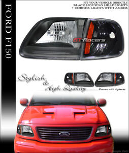 For 1997 2003 Ford F150 Expedition Black Headlights Signal Corner Amber Lamps K2