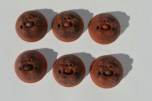 6 Chinese Yixing Zisha Figural Foo Dog Tea Cups Ball Inside Mouth Is Movable