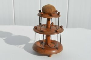 Antique Attractive 3 Tiered Sewing Stand Spool Holder W Pin Cushion Folk Art