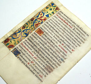 Illuminated Manuscript Book Of Hours Leaf 1470 Gold Borders St Anthony Of Padua