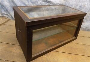 Wooden Framed Glass Vintage Showcase Country General Store Counter Top Display J