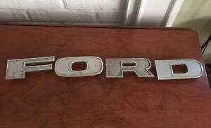 Vintage ford Large Letters Metal Emblem Car Pick Up Truck grill Emblem Original