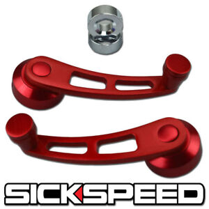 2 Pc Red Billet Aluminum Window Crank Handle Winder Fits Honda Civic del Sol