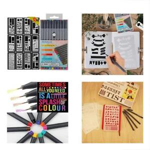10-Colors Card Making Kits Bullet Journal Pens With 12-Pieces Drawing Stencils