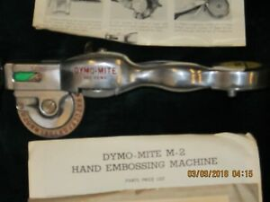 Vintage Dymo Mite Tapewriter Hand Embossing Tool Model M 2 Polished Aluminum Ob