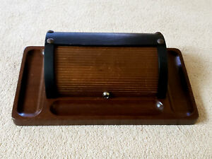 Vtg Rolltop Style Wooden Desk Organizer Caddy Catchall Made In Japan Vguc