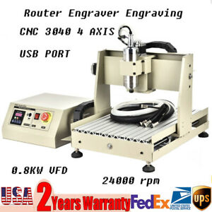 Ac110v 4 Axis Cnc Router 3040 0 8kw Water Cooled Vfd Engraving Milling Machine